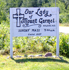 Sign outside Our Lady of Mount Carmel, Howard Road, Blackville, NB.