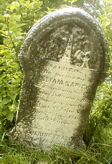 Sacred to the memory of William Napier Born in Musselburough, Scotland in the year 1800 and settled in this country in the year 18__ ________ Saint John, NB. Died 3rd August, 1869 Aged 69 years. His wife Catherine Fraser, died ___ 18__ Bathurst, NB.